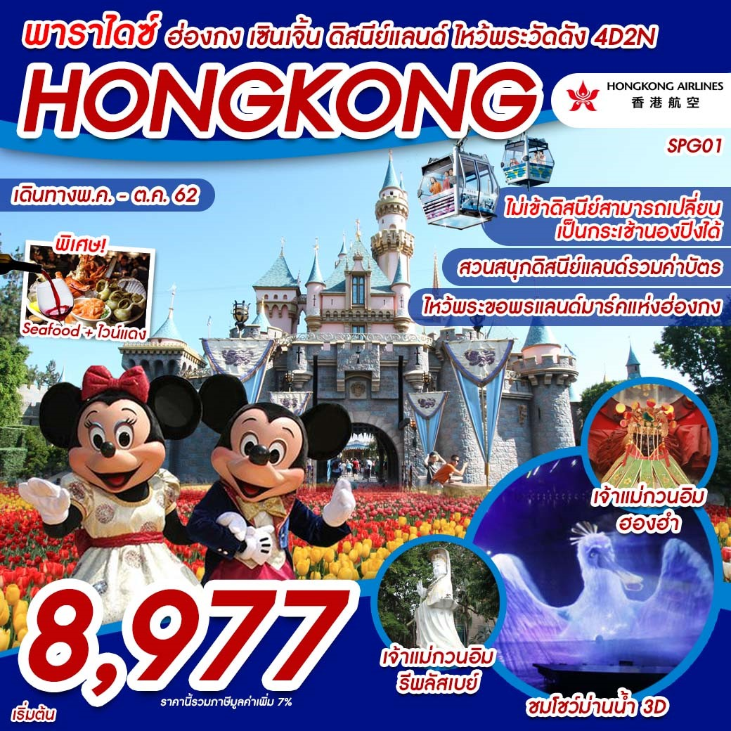 ทัวร์ฮ่องกง-พาราไดซ์-ฮ่องกง-เซินเจิ้น-ดีสนีย์-4วัน2คืน(OCT19)(SPG01)