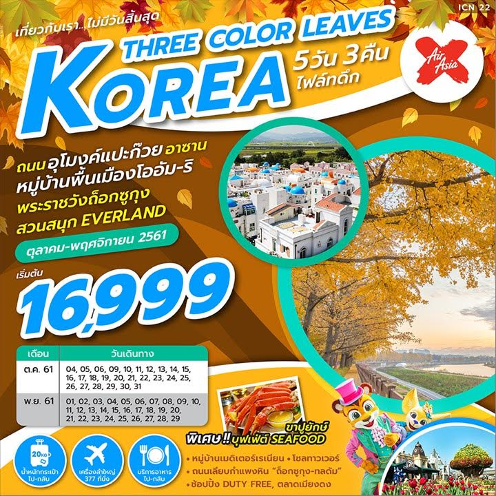 ทัวร์เกาหลี-KOREA-THREE-COLOUR-LEAVES-5D3N-(NOV18)-ICN22