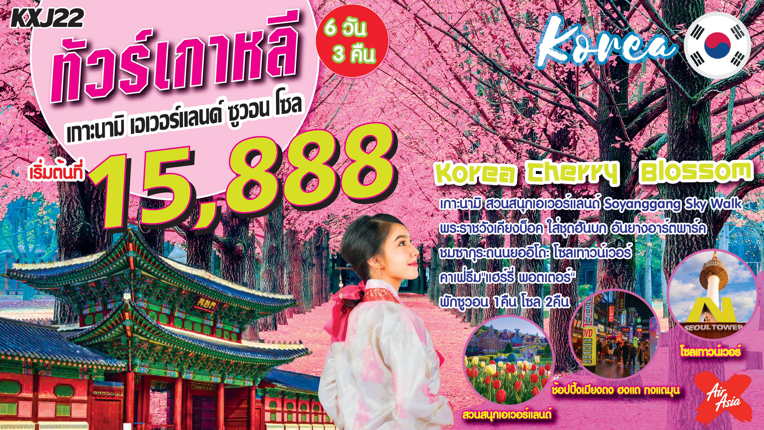 ทัวร์เกาหลี-Korea-Cherry-Blossom-เกาหลี-ซูวอน-โซล-6D3N-(MAR-APR20)(KXJ22)
