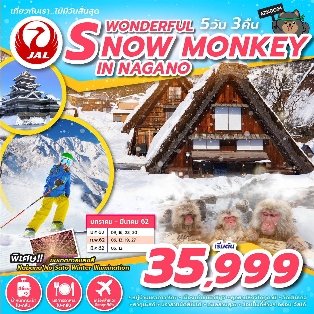 ทัวร์ญี่ปุ่น WONDERFUL SNOW MONKEY IN NAGANO 5D3N (FEB-MAR19) AZNGO04