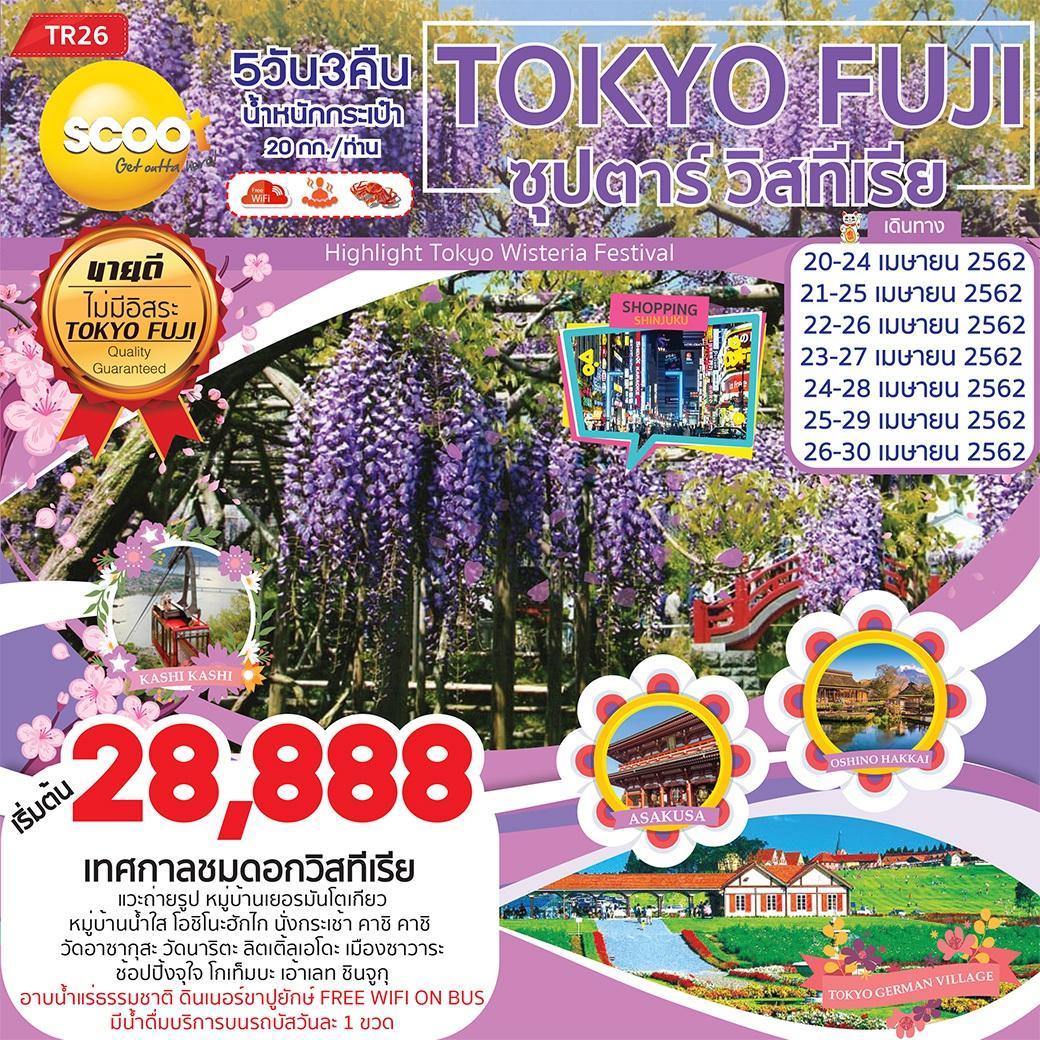 ทัวร์ญี่ปุ่น TOKYO FUJI ซุปตาร์ วิสทีเรีย 5D3N (APR'19) (TR26)