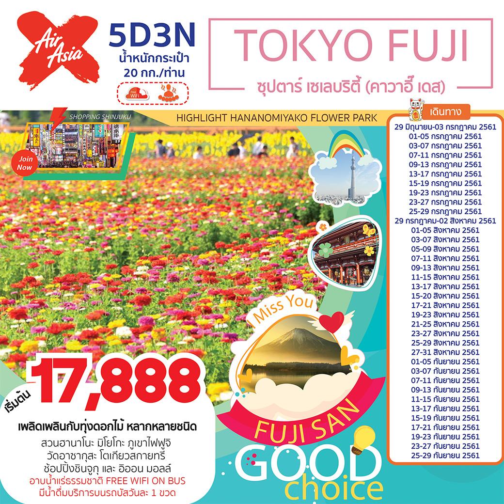 ทัวร์ญี่ปุ่น TOKYO FUJI 5D3N ซุปตาร์ เซเลบริตี้ (คาวาอี๊ เดส) (JUL-SEP18) (XJ59)