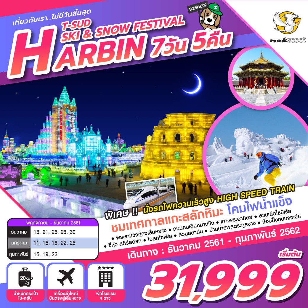 ทัวร์จีน-ปีใหม่-T-SUD-HARBIN-SKI-&-SNOW-FESTIVAL-7D5N-(DEC18-FEB19)-BZSHE02