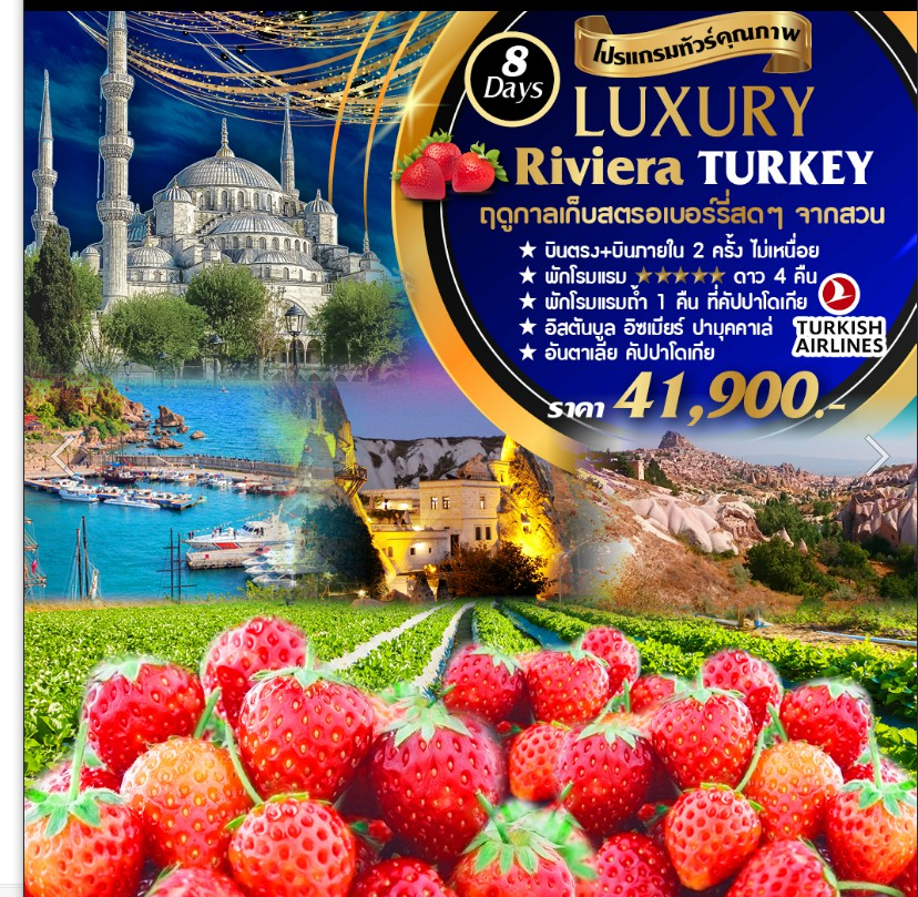 ทัวร์ตุรกี-Luxury-Riviera-Turkey-Strawberry-8D-5N-(TK69-TK68)(7-14OCT'19)
